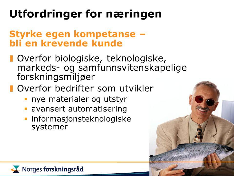 Utfordringer for næringen Overfor biologiske, teknologiske, markeds- og samfunnsvitenskapelige forskningsmiljøer Overfor bedrifter som utvikler  nye