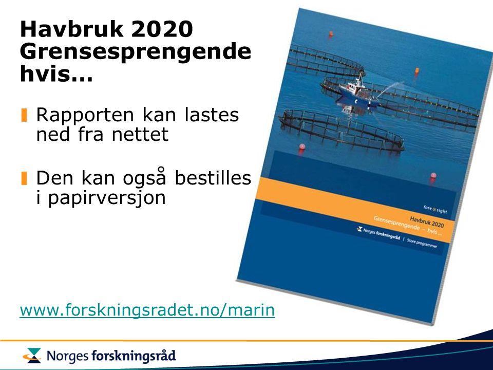 Rapporten kan lastes ned fra nettet Den kan også bestilles i papirversjon Havbruk 2020 Grensesprengende hvis… www.forskningsradet.no/marin