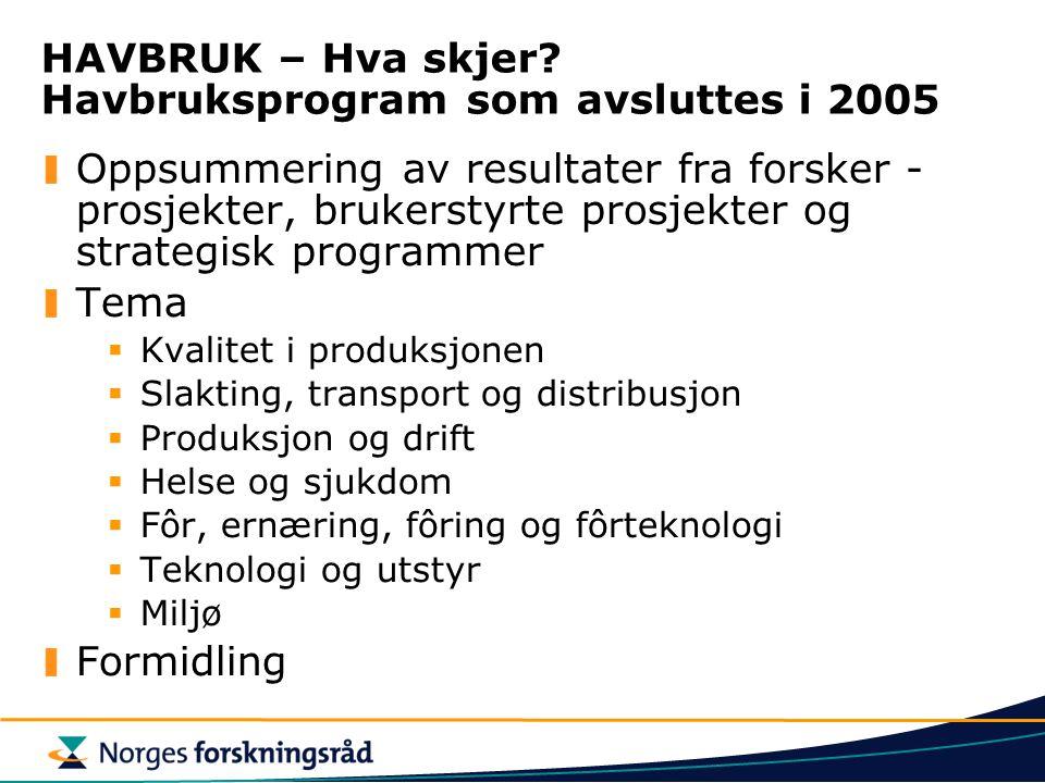 HAVBRUK – Hva skjer? Havbruksprogram som avsluttes i 2005 Oppsummering av resultater fra forsker - prosjekter, brukerstyrte prosjekter og strategisk p