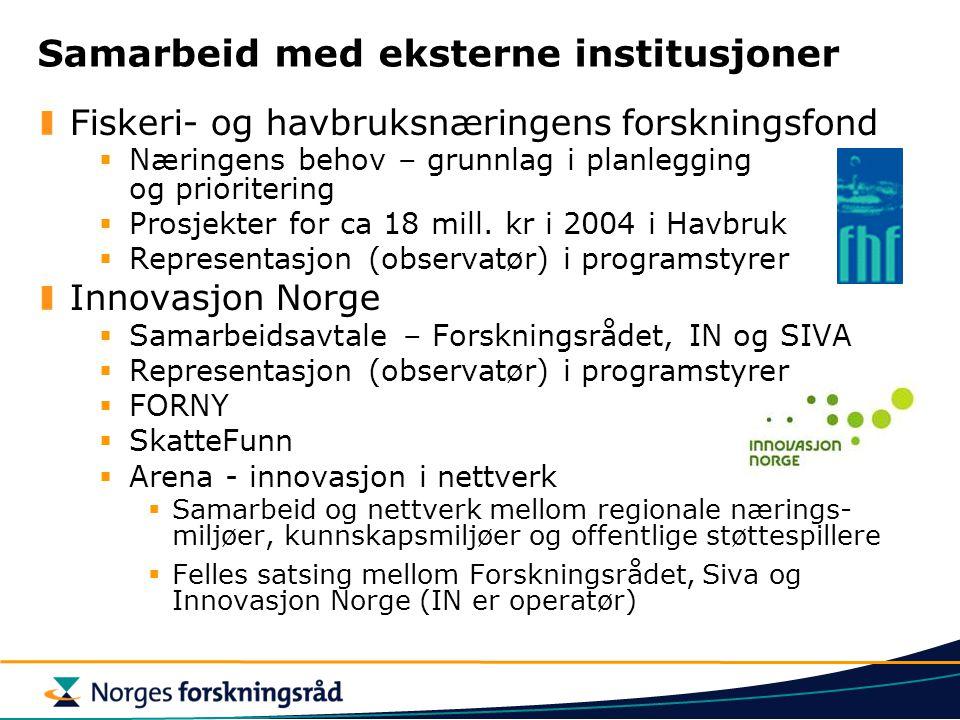 Samarbeid med eksterne institusjoner Fiskeri- og havbruksnæringens forskningsfond  Næringens behov – grunnlag i planlegging og prioritering  Prosjek