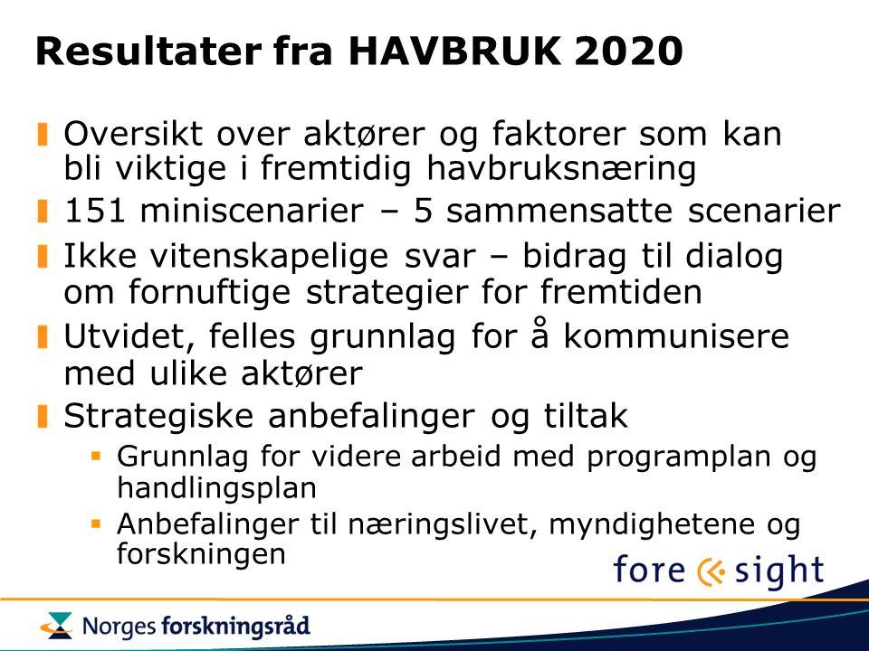 Resultater fra HAVBRUK 2020 Oversikt over aktører og faktorer som kan bli viktige i fremtidig havbruksnæring 151 miniscenarier – 5 sammensatte scenari