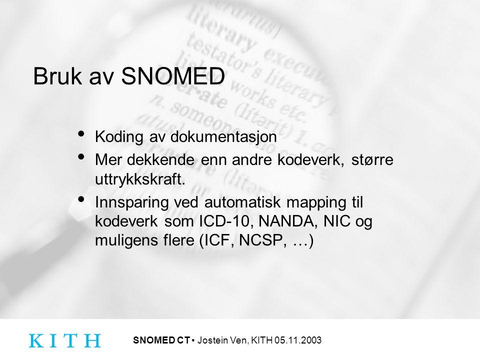 SNOMED CT Jostein Ven, KITH 05.11.2003 Bruk av SNOMED Koding av dokumentasjon Mer dekkende enn andre kodeverk, større uttrykkskraft.