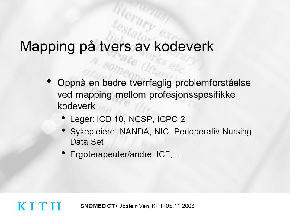 SNOMED CT Jostein Ven, KITH 05.11.2003 Mapping på tvers av kodeverk Oppnå en bedre tverrfaglig problemforståelse ved mapping mellom profesjonsspesifikke kodeverk Leger: ICD-10, NCSP, ICPC-2 Sykepleiere: NANDA, NIC, Perioperativ Nursing Data Set Ergoterapeuter/andre: ICF, …