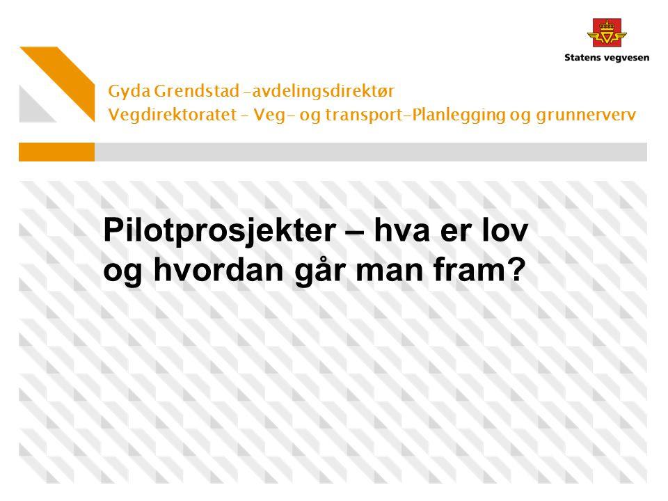 Gyda Grendstad –avdelingsdirektør Vegdirektoratet – Veg- og transport-Planlegging og grunnerverv Pilotprosjekter – hva er lov og hvordan går man fram?