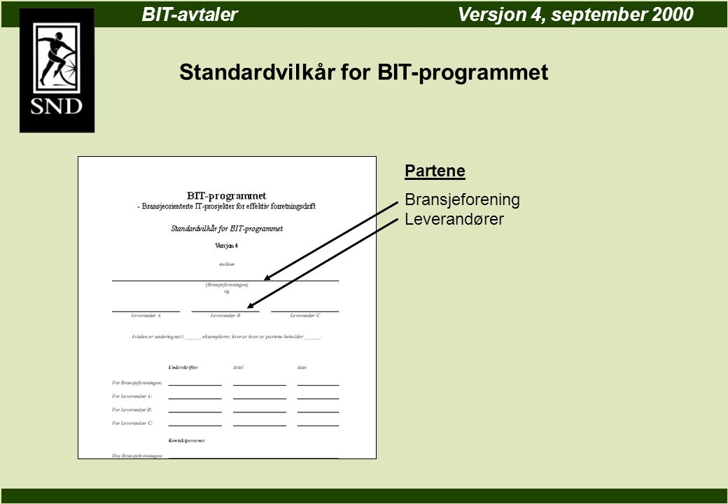 BIT-avtalerVersjon 4, september 2000 Standardvilkår for BIT-programmet Partene Bransjeforening Leverandører