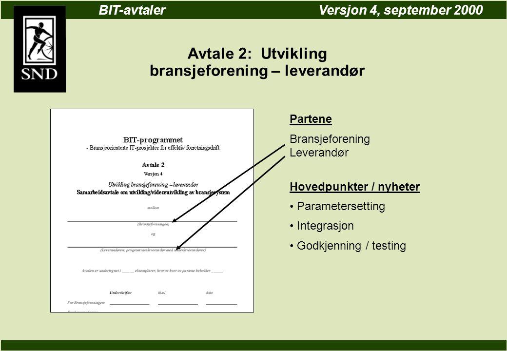 BIT-avtalerVersjon 4, september 2000 Avtale 2: Utvikling bransjeforening – leverandør Partene Bransjeforening Leverandør Hovedpunkter / nyheter Parametersetting Integrasjon Godkjenning / testing