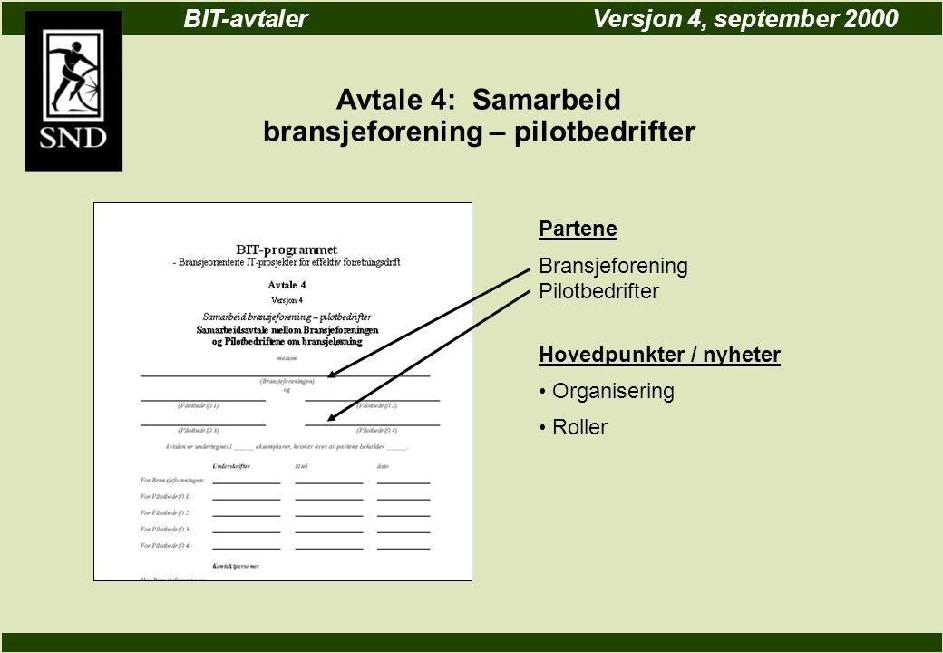 BIT-avtalerVersjon 4, september 2000 Avtale 4: Samarbeid bransjeforening – pilotbedrifter Partene Bransjeforening Pilotbedrifter Hovedpunkter / nyheter Organisering Roller