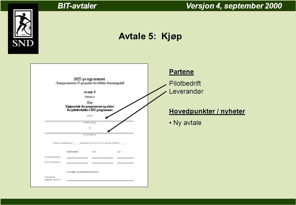 BIT-avtalerVersjon 4, september 2000 Avtale 5: Kjøp Partene Pilotbedrift Leverandør Hovedpunkter / nyheter Ny avtale