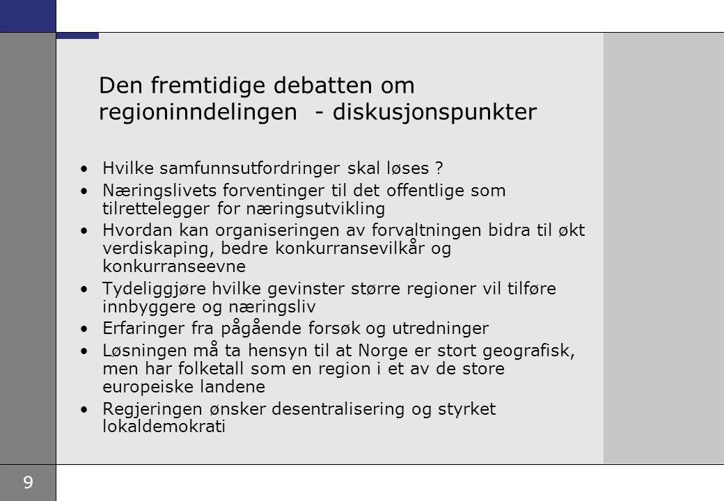 9 Den fremtidige debatten om regioninndelingen - diskusjonspunkter Hvilke samfunnsutfordringer skal løses ? Næringslivets forventinger til det offentl