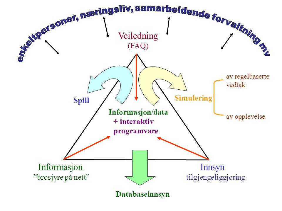 Veiledning (FAQ) Informasjon brosjyre på nett Innsyn tilgjengeliggjøring Informasjon/data + interaktiv programvare Simulering av regelbaserte vedtak av opplevelse Spill Databaseinnsyn