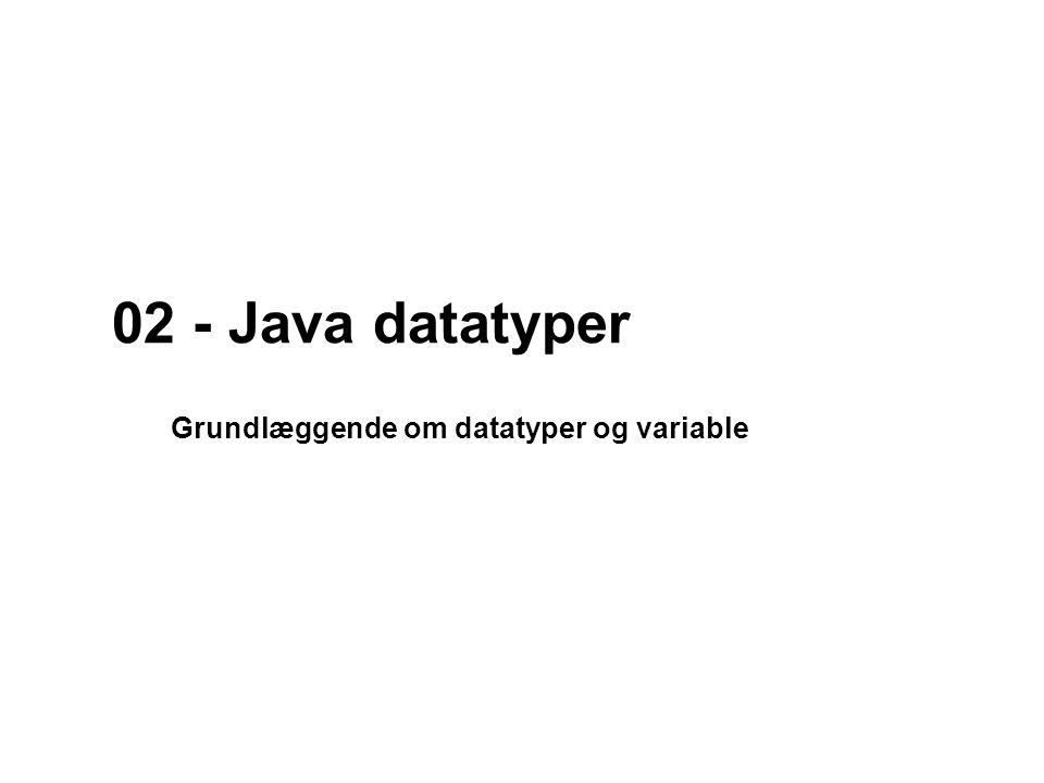 02 - Java datatyper Grundlæggende om datatyper og variable