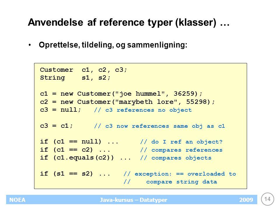 14 NOEA2009Java-kursus – Datatyper Anvendelse af reference typer (klasser) … Oprettelse, tildeling, og sammenligning: Customer c1, c2, c3; String s1,