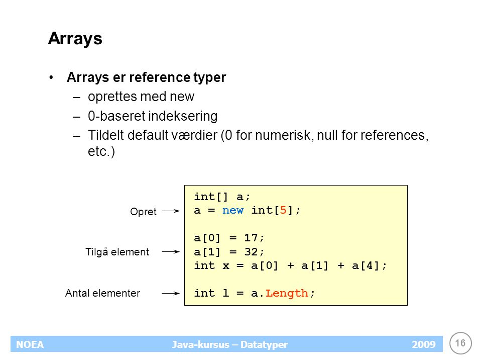 16 NOEA2009Java-kursus – Datatyper Arrays Arrays er reference typer –oprettes med new –0-baseret indeksering –Tildelt default værdier (0 for numerisk, null for references, etc.) int[] a; a = new int[5]; a[0] = 17; a[1] = 32; int x = a[0] + a[1] + a[4]; int l = a.Length; Tilgå element Opret Antal elementer