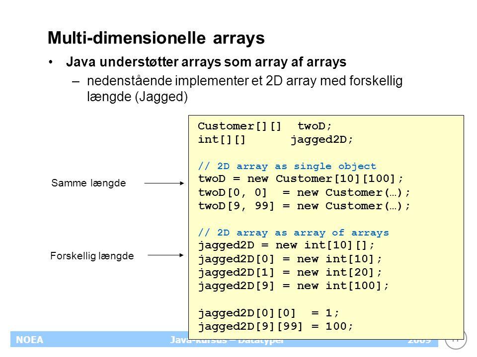 17 NOEA2009Java-kursus – Datatyper Multi-dimensionelle arrays Java understøtter arrays som array af arrays –nedenstående implementer et 2D array med f
