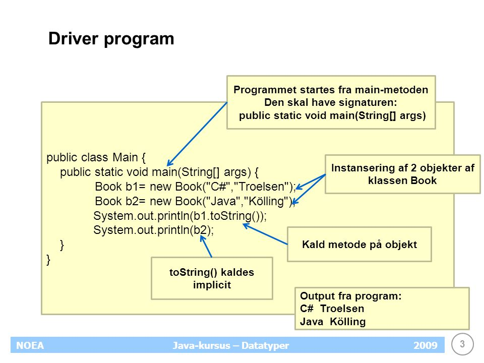 3 NOEA2009Java-kursus – Datatyper Driver program public class Main { public static void main(String[] args) { Book b1= new Book( C# , Troelsen ); Book b2= new Book( Java , Kölling ); System.out.println(b1.toString()); System.out.println(b2); } Programmet startes fra main-metoden Den skal have signaturen: public static void main(String[] args) Instansering af 2 objekter af klassen Book Kald metode på objekt toString() kaldes implicit Output fra program: C# Troelsen Java Kölling