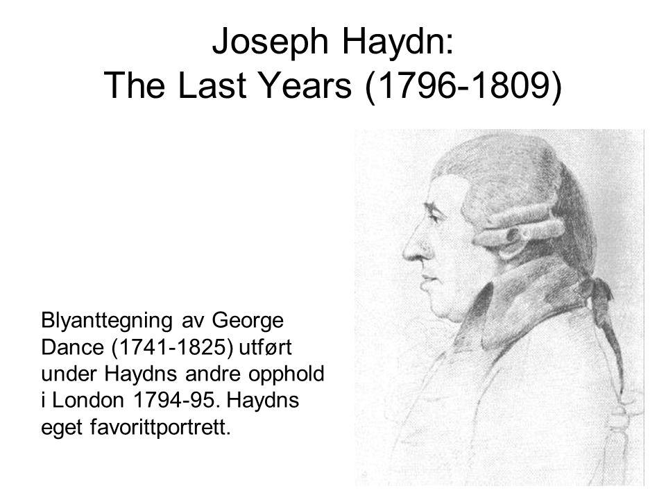Joseph Haydn: Messe i krigstid (1796) Østerrike kriget mot det revolusjonære Frankrike både i Italia og Sør-Tyskland Franskmennene var på det nærmeste 120 km unna Wiens bymurer Napoleon Bonaparte (1769-1821)