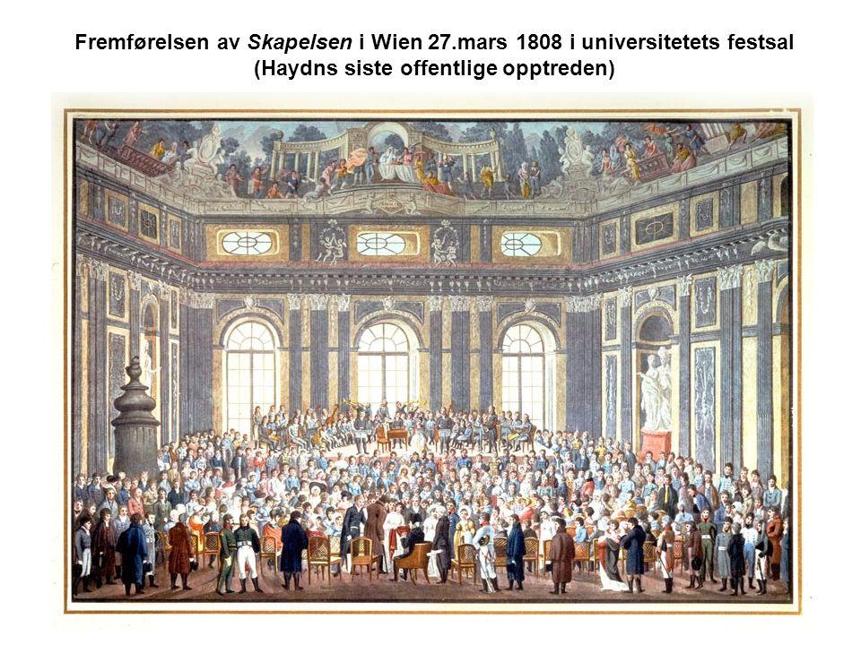 Fremførelsen av Skapelsen i Wien 27.mars 1808 i universitetets festsal (Haydns siste offentlige opptreden)