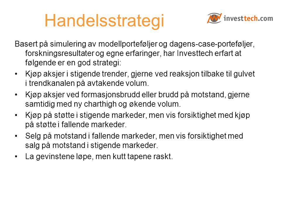 Handelsstrategi Basert på simulering av modellporteføljer og dagens-case-porteføljer, forskningsresultater og egne erfaringer, har Investtech erfart a