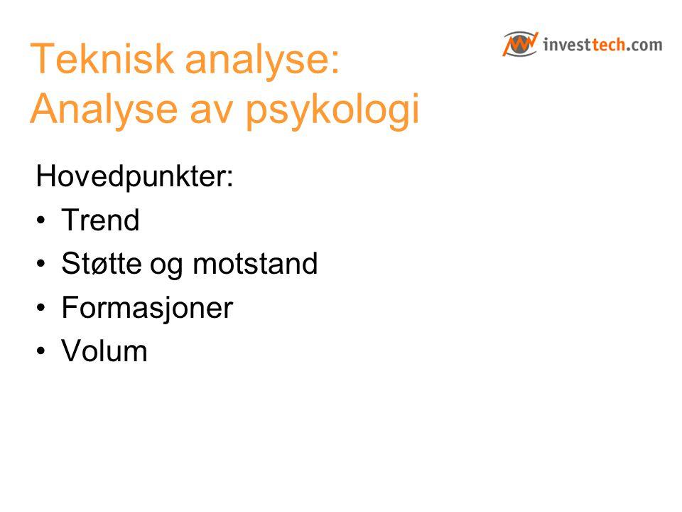 Teknisk analyse: Analyse av psykologi Hovedpunkter: Trend Støtte og motstand Formasjoner Volum