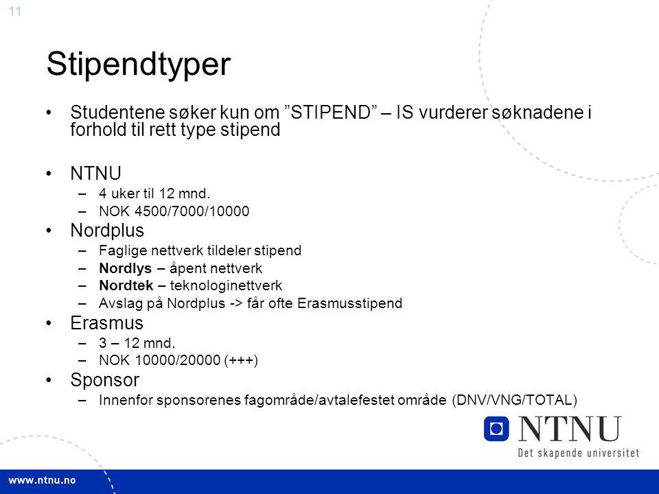 11 Stipendtyper Studentene søker kun om STIPEND – IS vurderer søknadene i forhold til rett type stipend NTNU –4 uker til 12 mnd.