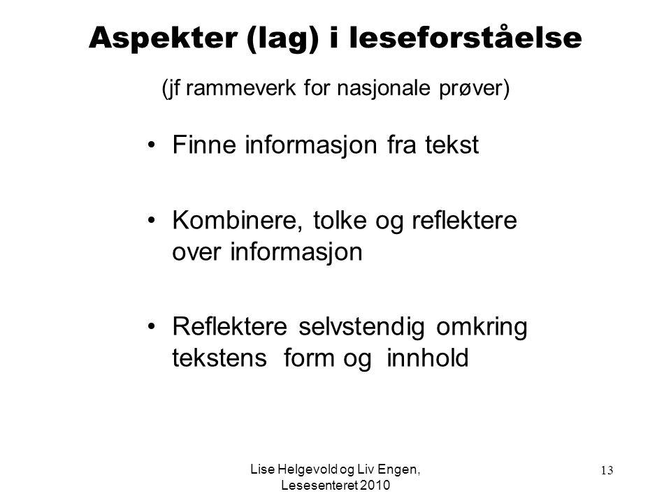 Lise Helgevold og Liv Engen, Lesesenteret 2010 13 Aspekter (lag) i leseforståelse (jf rammeverk for nasjonale prøver) Finne informasjon fra tekst Komb