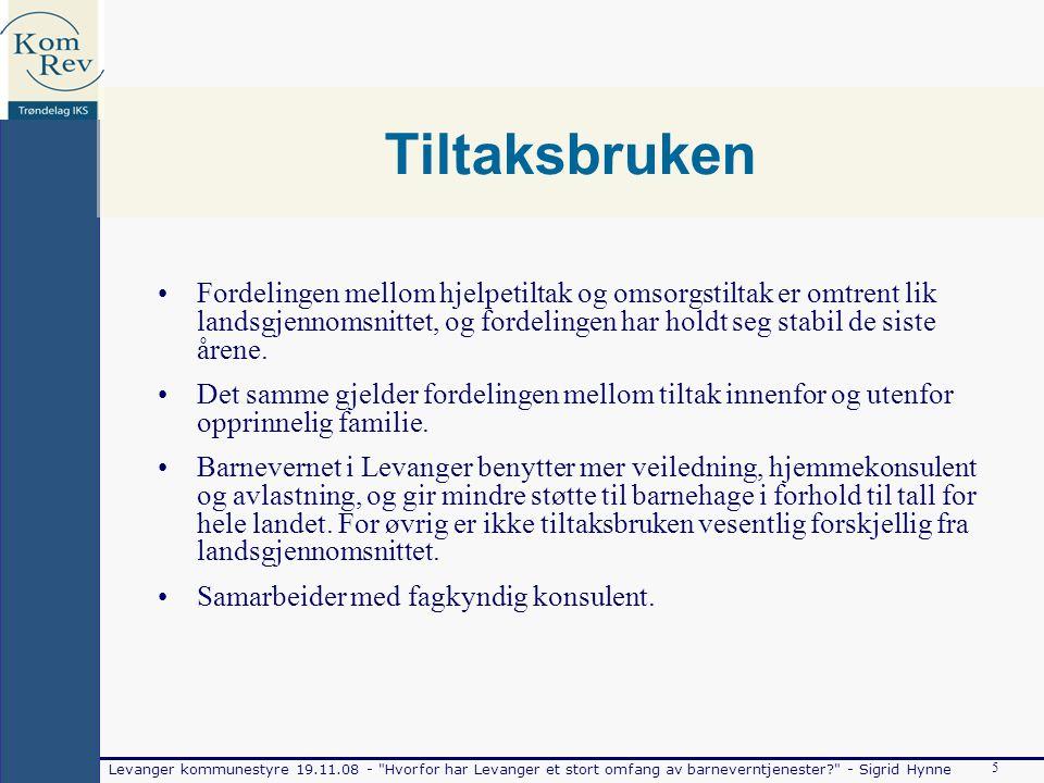 Levanger kommunestyre 19.11.08 - Hvorfor har Levanger et stort omfang av barneverntjenester - Sigrid Hynne 5 Tiltaksbruken Fordelingen mellom hjelpetiltak og omsorgstiltak er omtrent lik landsgjennomsnittet, og fordelingen har holdt seg stabil de siste årene.