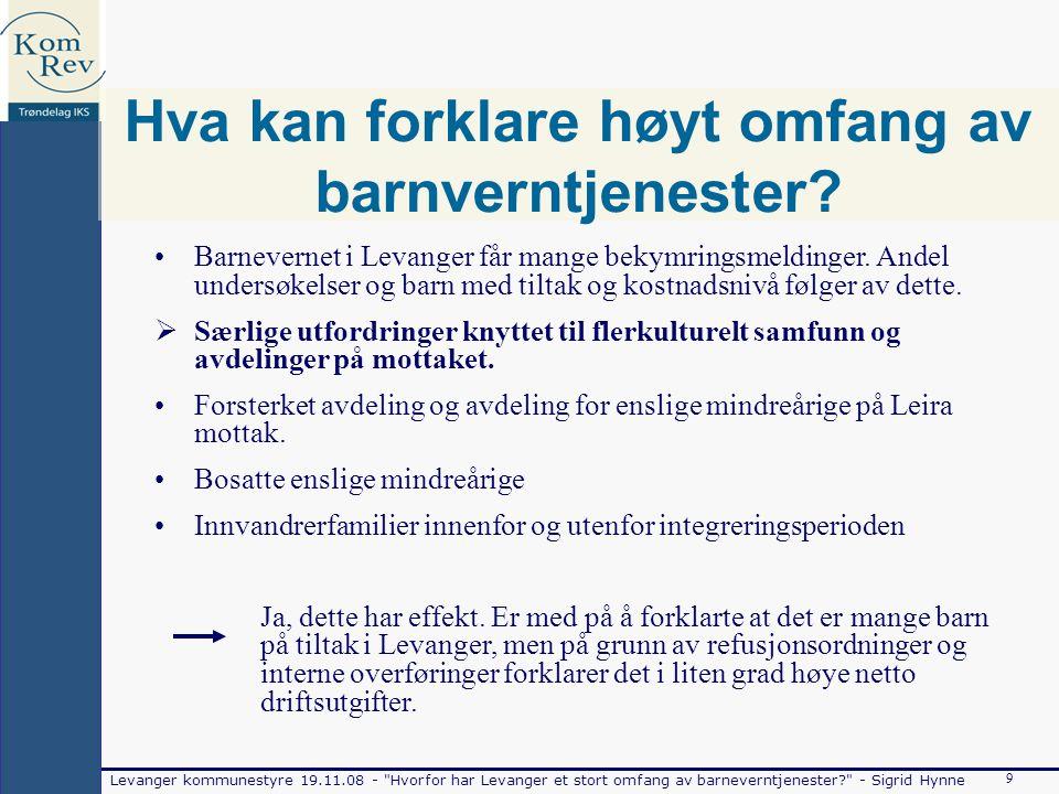Levanger kommunestyre 19.11.08 - Hvorfor har Levanger et stort omfang av barneverntjenester - Sigrid Hynne 9 Hva kan forklare høyt omfang av barnverntjenester.
