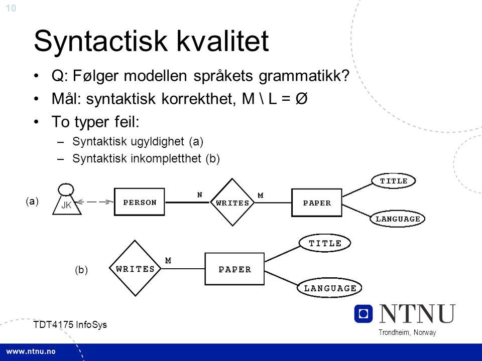 10 Trondheim, Norway TDT4175 InfoSys Syntactisk kvalitet Q: Følger modellen språkets grammatikk? Mål: syntaktisk korrekthet, M \ L = Ø To typer feil: