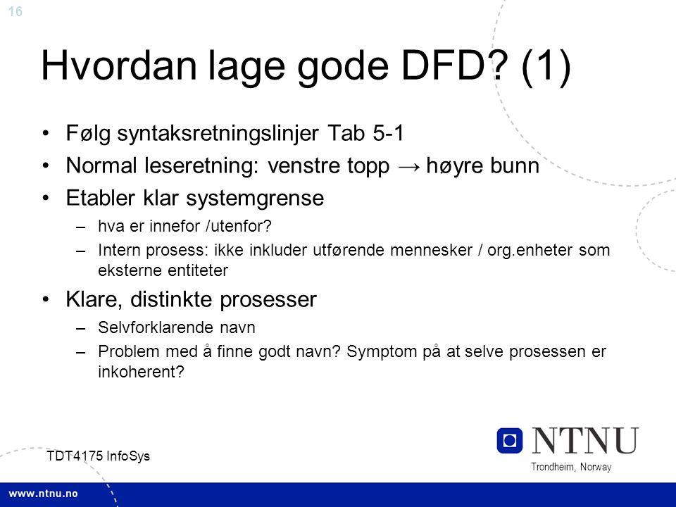 16 Trondheim, Norway TDT4175 InfoSys Hvordan lage gode DFD? (1) Følg syntaksretningslinjer Tab 5-1 Normal leseretning: venstre topp → høyre bunn Etabl