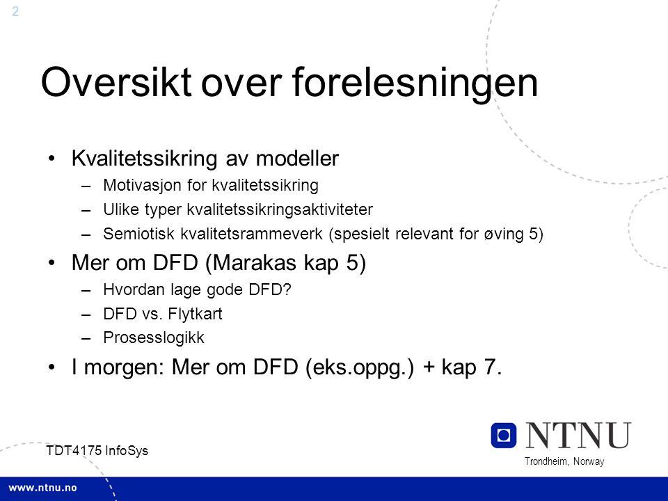 23 Trondheim, Norway TDT4175 InfoSys Structured English En slags pseudokode –Navn fra DFD brukes som «variable» –Sentrale elementer: sekvens, valg, repetisjon –Hver prosess må ha kun et inngangspunkt og et utgangspunkt i koden Syntaks vist i Tab 5-2 –Bør være enkelt for dere, går derfor ikke i detalj