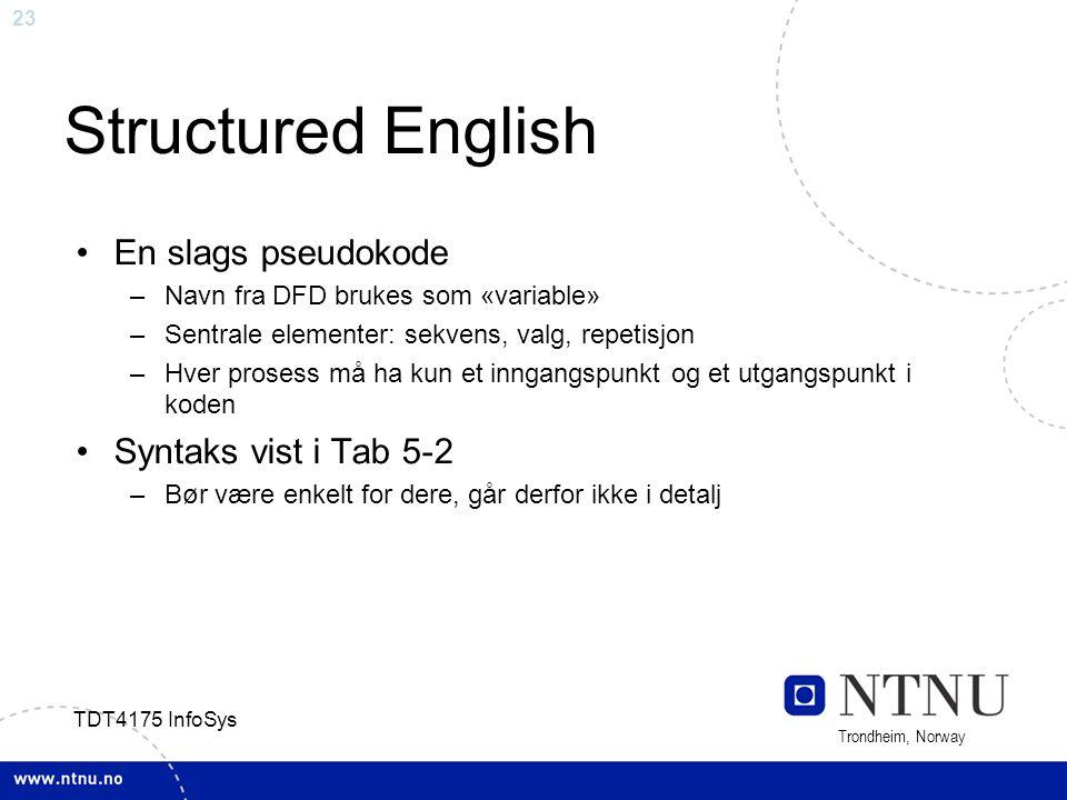 23 Trondheim, Norway TDT4175 InfoSys Structured English En slags pseudokode –Navn fra DFD brukes som «variable» –Sentrale elementer: sekvens, valg, re