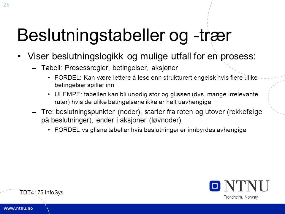 26 Trondheim, Norway TDT4175 InfoSys Beslutningstabeller og -trær Viser beslutningslogikk og mulige utfall for en prosess: –Tabell: Prosessregler, bet