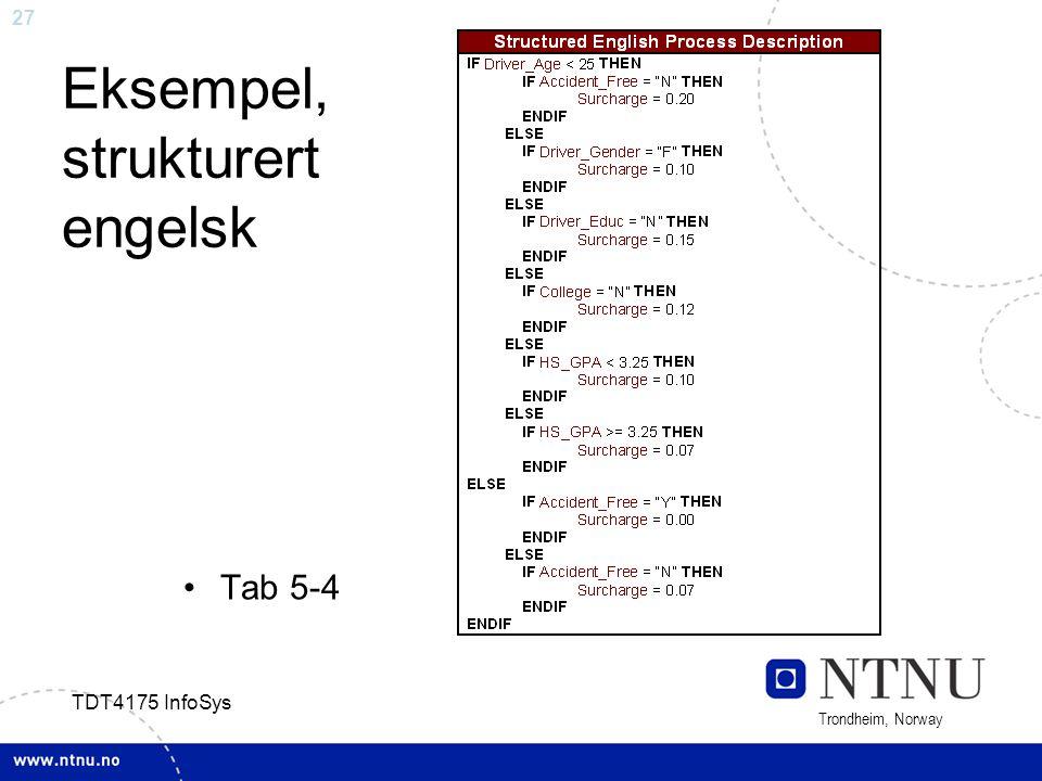 27 Trondheim, Norway TDT4175 InfoSys Eksempel, strukturert engelsk Tab 5-4