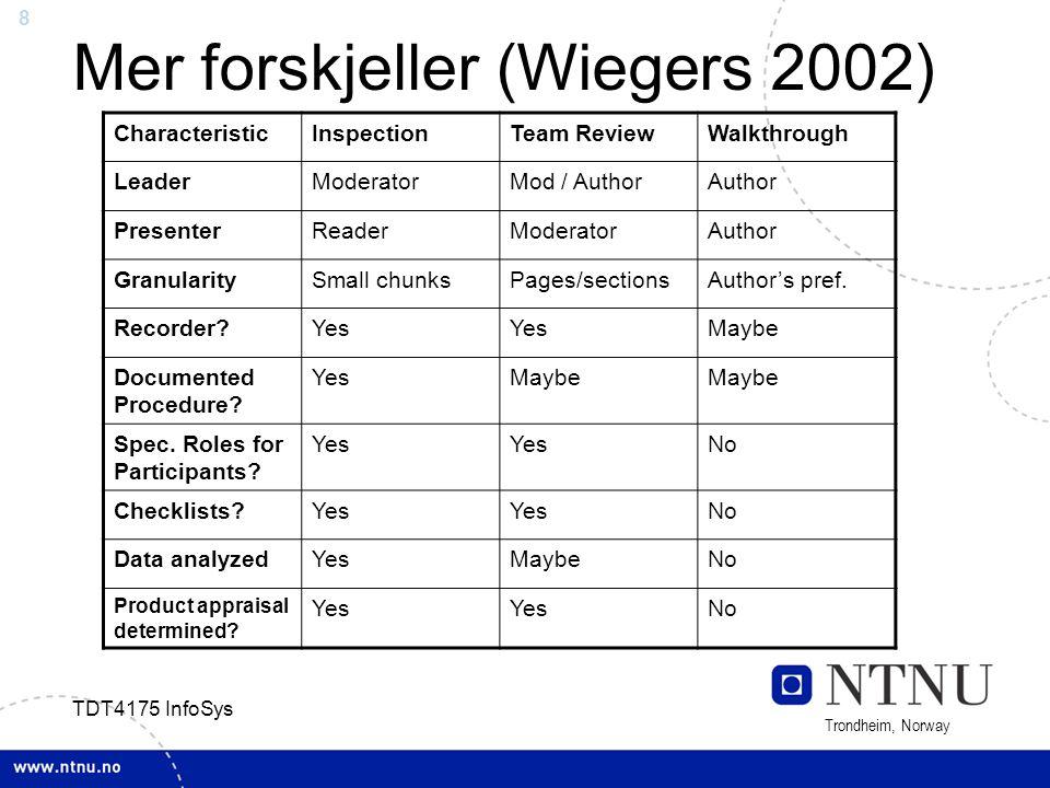8 Trondheim, Norway TDT4175 InfoSys Mer forskjeller (Wiegers 2002) CharacteristicInspectionTeam ReviewWalkthrough LeaderModeratorMod / AuthorAuthor Pr