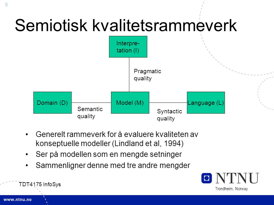 9 Trondheim, Norway TDT4175 InfoSys Semiotisk kvalitetsrammeverk Generelt rammeverk for å evaluere kvaliteten av konseptuelle modeller (Lindland et al