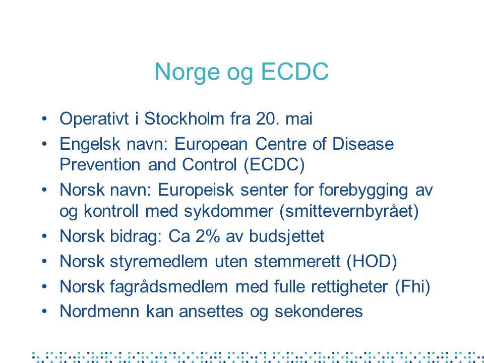 Norge og ECDC Operativt i Stockholm fra 20.