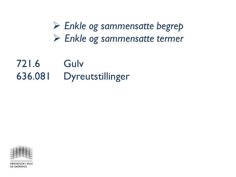  Sammensatte uttrykk (fraser) 636.086Fór fra jordbruksplanter 646.4Produksjon av klær og tilbehør 697.7Oppvarming med andre metoder 386Transport på vannveier i innlandet; fergetransport