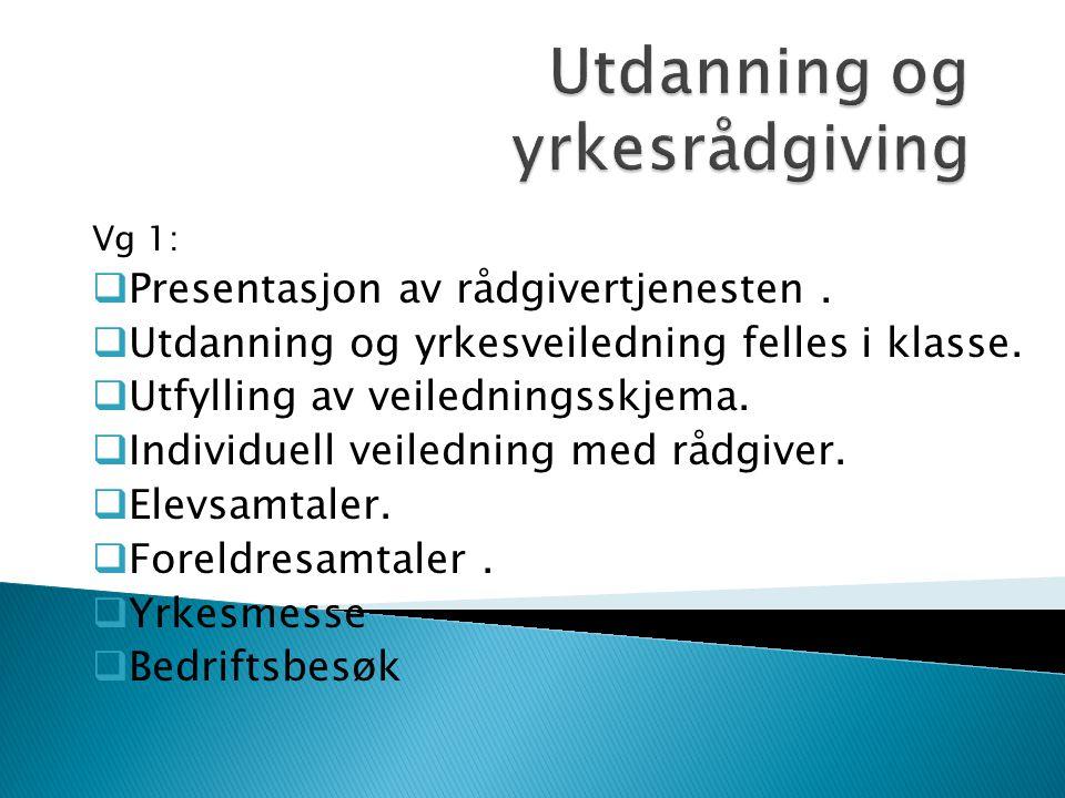 Vg 1:  Presentasjon av rådgivertjenesten.  Utdanning og yrkesveiledning felles i klasse.  Utfylling av veiledningsskjema.  Individuell veiledning