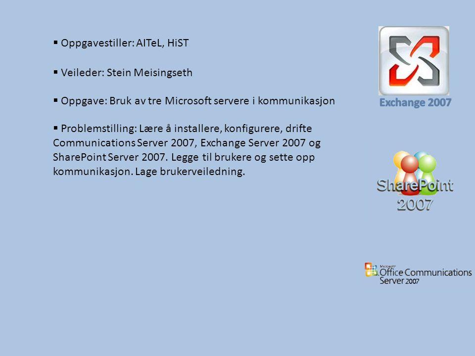  Oppgave: Bruk av tre Microsoft servere i kommunikasjon  Oppgavestiller: AITeL, HiST  Problemstilling: Lære å installere, konfigurere, drifte Communications Server 2007, Exchange Server 2007 og SharePoint Server 2007.