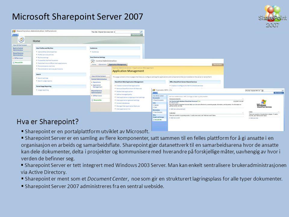 Microsoft Sharepoint Server 2007 Hva er Sharepoint?  Sharepoint er en portalplattform utviklet av Microsoft.  Sharepoint Server er en samling av fle