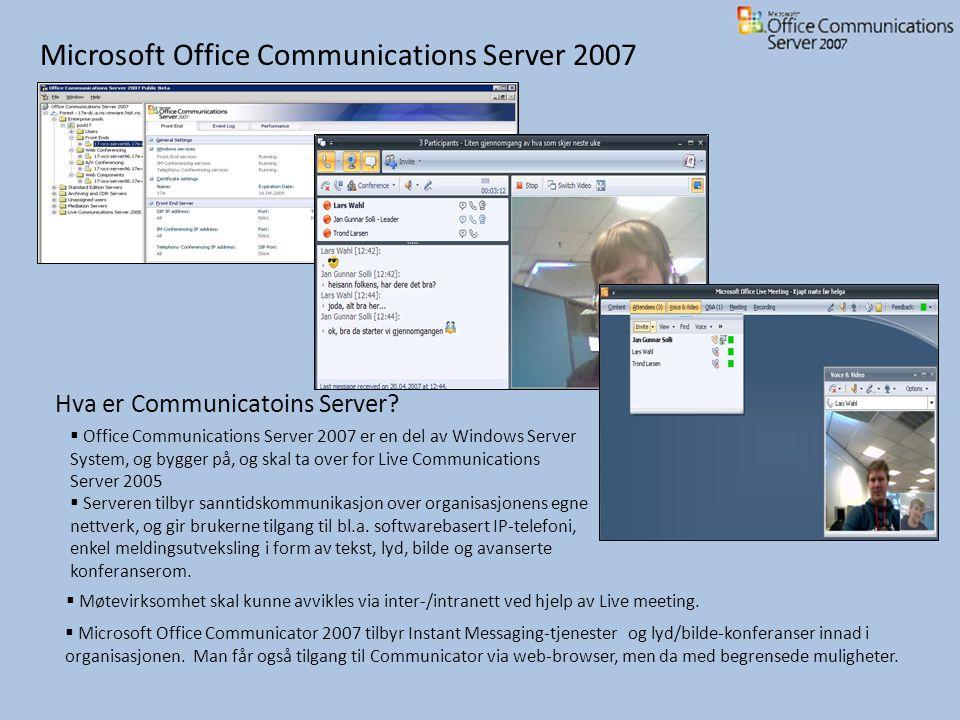 Demo Vi vil nå vise en demo av deler av integreringen mellom Exchange 2007 og SharePoint 2007.