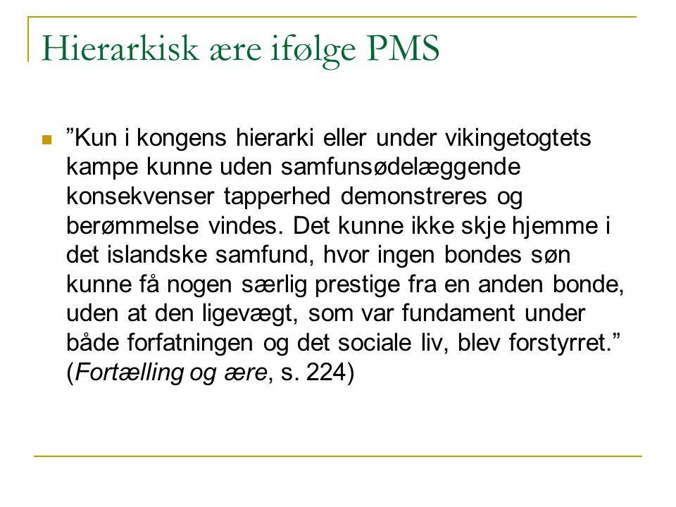 """Hierarkisk ære ifølge PMS """"Kun i kongens hierarki eller under vikingetogtets kampe kunne uden samfunsødelæggende konsekvenser tapperhed demonstreres o"""