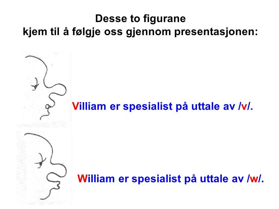 Desse to figurane kjem til å følgje oss gjennom presentasjonen: Villiam er spesialist på uttale av /v/.