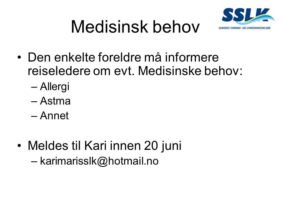 Medisinsk behov Den enkelte foreldre må informere reiseledere om evt. Medisinske behov: –Allergi –Astma –Annet Meldes til Kari innen 20 juni –karimari