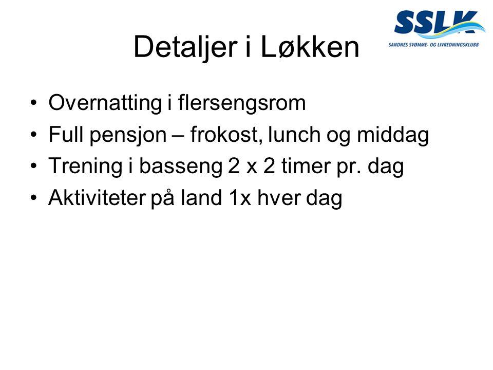 Detaljer i Løkken Overnatting i flersengsrom Full pensjon – frokost, lunch og middag Trening i basseng 2 x 2 timer pr. dag Aktiviteter på land 1x hver