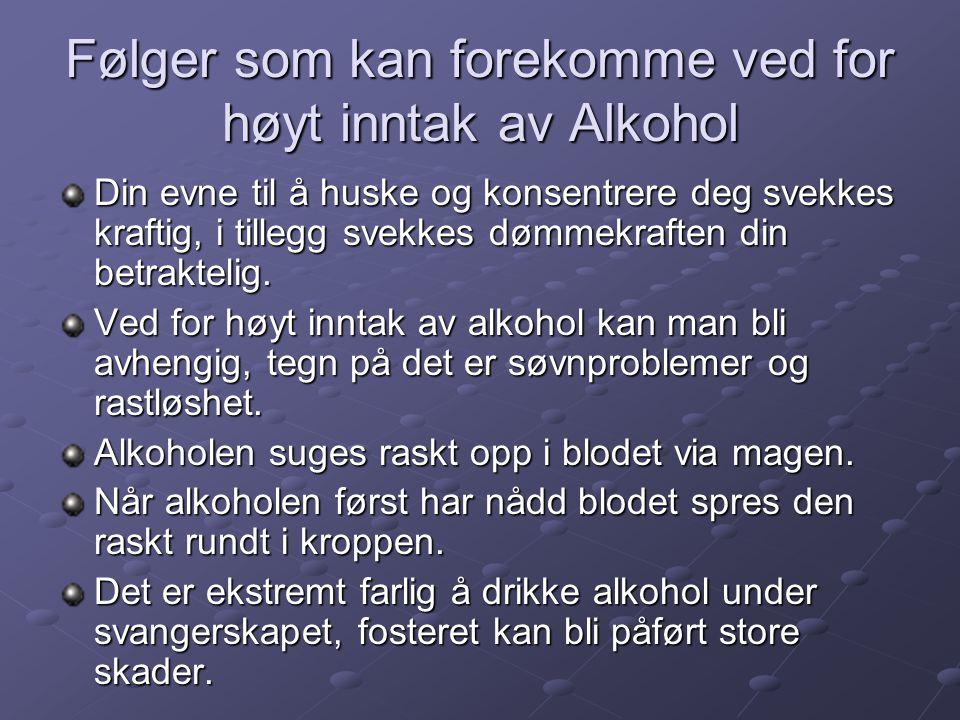 Følger som kan forekomme ved for høyt inntak av Alkohol Din evne til å huske og konsentrere deg svekkes kraftig, i tillegg svekkes dømmekraften din be