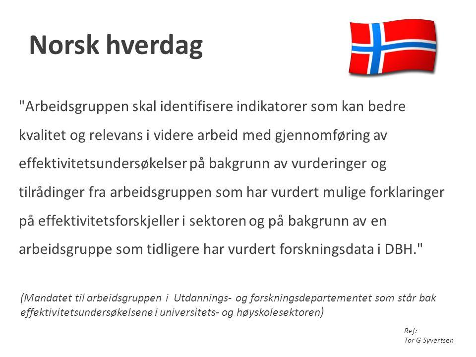 Norsk hverdag (Mandatet til arbeidsgruppen i Utdannings- og forskningsdepartementet som står bak effektivitetsundersøkelsene i universitets- og høysko
