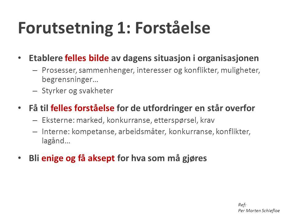 Forutsetning 1: Forståelse Etablere felles bilde av dagens situasjon i organisasjonen – Prosesser, sammenhenger, interesser og konflikter, muligheter, begrensninger… – Styrker og svakheter Få til felles forståelse for de utfordringer en står overfor – Eksterne: marked, konkurranse, etterspørsel, krav – Interne: kompetanse, arbeidsmåter, konkurranse, konflikter, lagånd… Bli enige og få aksept for hva som må gjøres Ref: Per Morten Schiefloe