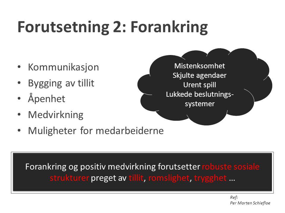 Forutsetning 2: Forankring Kommunikasjon Bygging av tillit Åpenhet Medvirkning Muligheter for medarbeiderne Ref: Per Morten Schiefloe Forankring og po