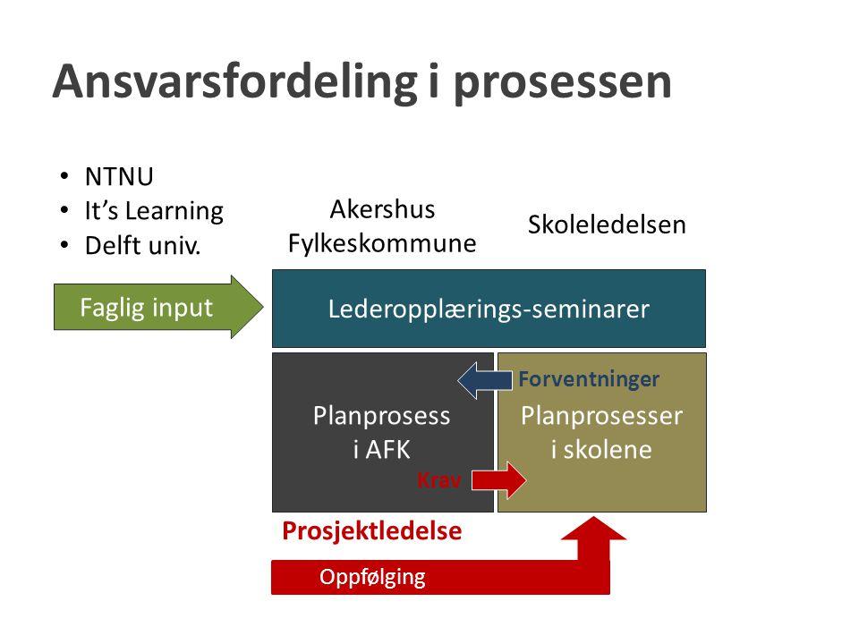Ansvarsfordeling i prosessen Lederopplærings-seminarer Planprosess i AFK Faglig input NTNU It's Learning Delft univ. Skoleledelsen Akershus Fylkeskomm